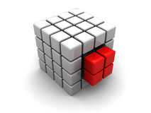 Abstract cube structure. Abstract 3d illustration of cube structure built from blocks Stock Photography