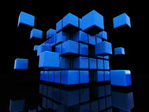 Abstract cube structure. Abstract 3d illustration of blue cube assembling from blocks stock illustration