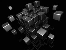 Abstract cube structure. Abstract 3d illustration of black metal cube structure built from blocks Royalty Free Stock Photos
