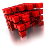 Abstract cube structure. Abstract 3d illustration of red cubes structures over white background royalty free illustration