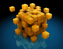 Abstract cube structure. Abstract 3d illustration of cube building with blocks, over black background Stock Image