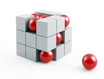 Abstract cube structure on white background Royalty Free Stock Images