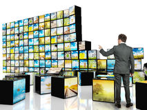 Abstract cube television. Multimedia concept with abstract cube television Stock Photography