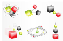 Abstract cubes. A representation of various connections between cubes and spheres Stock Photo