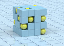 Abstract cubes. 3D abstract cubes and yellow spheres Royalty Free Stock Photos