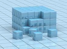 Abstract cubes. 3D abstract blue cubes on grid plan Stock Photos