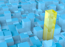 Abstract cubes. 3D abstract blue plastic and yellow glass cubes Stock Photography