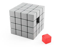 Abstract cubes. 3d image on white background Royalty Free Stock Photos