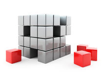 Abstract cubes. 3d image on white background Stock Images