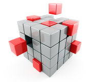Abstract cubes. 3d image on white background Stock Photography