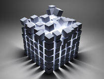 Abstract cubes. 3d image on gray background Stock Images