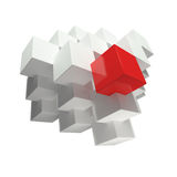 Abstract cubes. Composition. One red cube and grey cubes over white background Royalty Free Stock Image