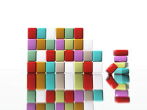 Abstract cubes. Abstract 3d cubes with reflection Stock Images