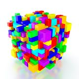 Abstract cubes. 3D render of multi colored cubes on white background royalty free illustration