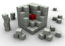 Abstract cubes. Abstract business cubes with one different piece Stock Image