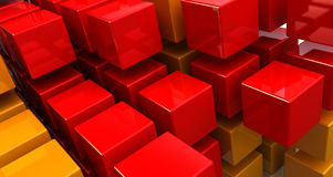 Abstract cubes backgrounc. Abstract 3d illustration of orange and red cubes background royalty free illustration