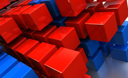 Abstract cubes background. Abstract 3d illustration of cubes background, red and blue colors stock illustration