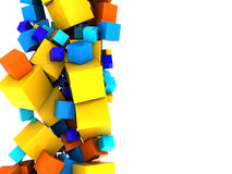 Abstract cubes background. Abstract 3d illustration of colorful cubes background with space for text Stock Photo