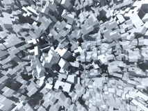 Abstract cubes background, 3d illustration. Abstract background made of cubes and boxes similar to futuristic city. 3d illustration Royalty Free Stock Image