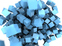 Abstract cubes background. Abstract 3d illustraton of blue cubes splash background Royalty Free Stock Photography