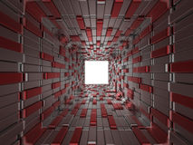 Abstract cubes background. 3D render illustration of an abstract cubes background with an open white square at the end Royalty Free Stock Photos