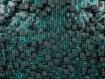 Abstract cubes background with glass. 3D Stock Image