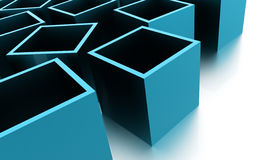 Abstract cubes background rendered. Blue abstract cubes background rendered Royalty Free Stock Image