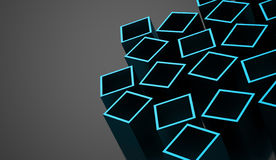 Abstract cubes background rendered. Blue abstract cubes background rendered Royalty Free Stock Photos