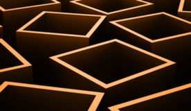 Abstract cubes background rendered. Orange abstract cubes background rendered Stock Photos