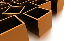 Abstract cubes background rendered. Orange abstract cubes background rendered Royalty Free Stock Images