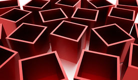 Abstract cubes background rendered. Red abstract cubes background rendered Stock Image