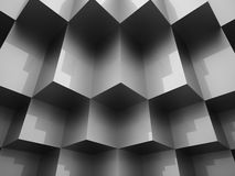 Abstract cubes background. Rendered silver Stock Photos