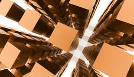 Abstract cubes background rendered on white background Stock Images