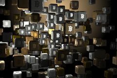 Cryptocurrency and e-commerce concept. Abstract cubes with bitcoin signs. Cryptocurrency and e-commerce concept. 3D Rendering Royalty Free Stock Photos