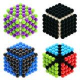 Abstract cubes built of glossy spheres isolated Royalty Free Stock Photo