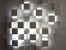 Abstract cubes on concrete wall. stock photo
