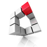 Abstract Cubes Construction With Different Red One. 3d Render Illustration Stock Photo