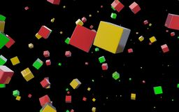 Abstract cubes in flight. Multi-coloured abstract cubes on a black background Royalty Free Stock Photos