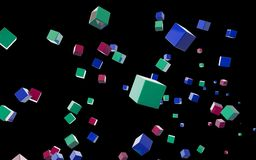 Abstract cubes in flight Stock Image
