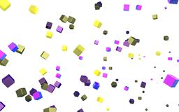 Abstract cubes in flight. Multi-coloured abstract cubes on a white background Royalty Free Stock Images