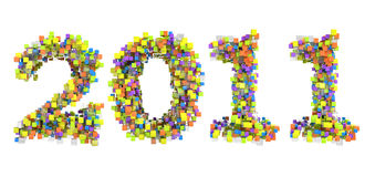 Abstract cubes font new year 2011. Isolated over white Royalty Free Stock Photos