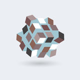 Abstract cubes formed in a cube, futuristic transformer, vector object Royalty Free Stock Photos