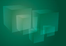 Abstract cubes green. Abstract isometric geomtetric design of 3d translucent cubes green emerald color Stock Photos