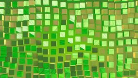 Abstract cubes in green and gold colors stock video