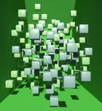 Abstract cubes in green space. 3d rendering. Departing from the space of green cubes on a green background Royalty Free Stock Photos