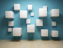 Abstract cubes in interior Stock Image