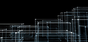 Abstract cubes. Network connection background Stock Photo