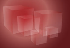 Abstract cubes red. Abstract isometric geomtetric design of 3d translucent cubes red ruby color Stock Image