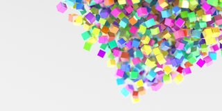 Abstract cubes three dimensional background. Abstract multi colored cubes three dimensional background, 3d rendering Royalty Free Stock Photo