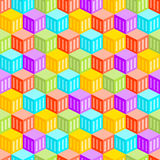 Abstract Cubic City Seamless Pattern. Formed out of heaxgonal blocks stock illustration